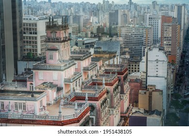 Aerial view of downtown Sao Paulo and Martinelli Building - Sao Paulo, Brazil