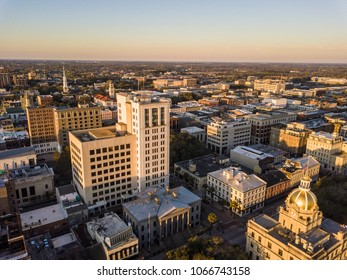 Aerial view of downtown Savannah, Georgia, USA, at dawn.