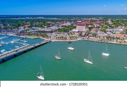 Aerial view of downtown St. Augustine, FL