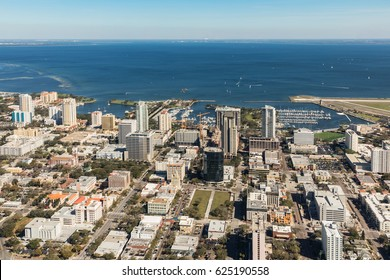 Aerial view of downtown St. Petersburg, Florida. Landing at the airport in St. Petersburg