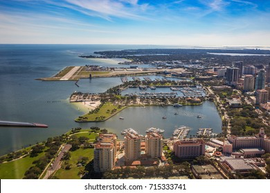 Aerial view of downtown St. Petersburg, Florida. Airport in St. Petersburg. FLORIDA, USA