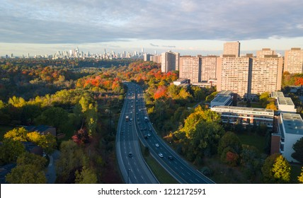 Aerial view of downtown Toronto from afar