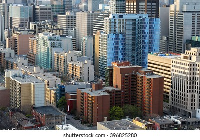 Aerial view of downtown Toronto financial district