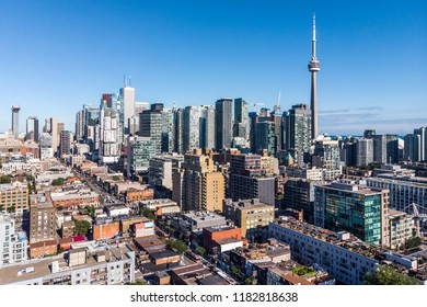 Aerial view of Downtown Toronto on a sunny day in Toronto, Ontario, Canada.