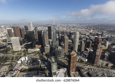 Aerial view of downtown towers in Los Angeles, California.