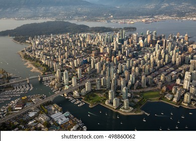 Aerial view of Downtown Vancouver during a summer evening before sunset.