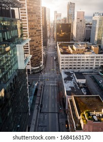 An aerial view of downtown Vancouver, Georgia Street, looking towards Stanley Park, that is almost empty due to the COVID-19 virus pandemic.