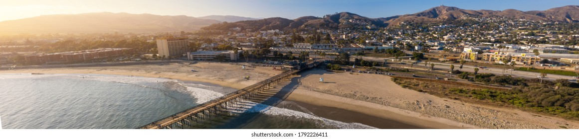 Aerial view of downtown Ventura, California and the coast of San Buenaventura State Beach.