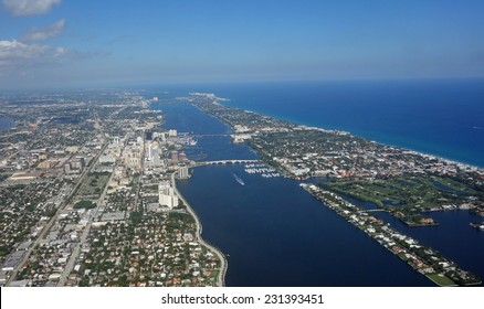 Aerial view of downtown West Palm Beach and Palm Beach, Florida