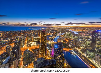 Aerial view of dramatic night sky at Melbourne city skyline