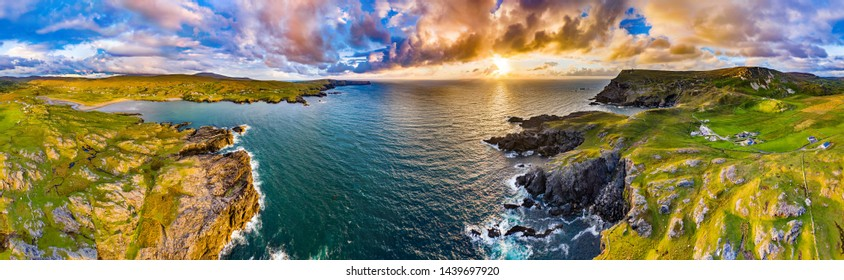 Aerial view of the dramatic sea cliffs at Glencolumbkille in County DOnegal, Ireland.