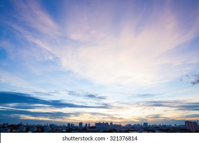 Aerial view of dramatic sunset and sunrise live blue sky in Bangkok. Metropolitan view.