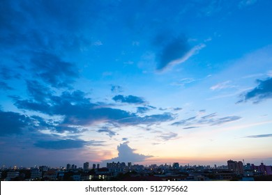 Aerial view of dramatic sunset and sunrise / Blue sky in Bangkok
