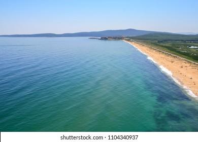 Aerial view of The Driving Beach near resort of Dyuni, Burgas Region, Bulgaria