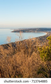 Aerial view of Dromana and Safety Beach on the Morninton Peninsula, as seen from Arthur's Seat.