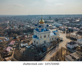 Aerial view from drone of Ascension Cathedral in Yelets, Lipetsk region, Russia
