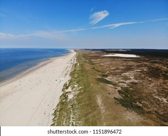 Aerial view, drone of the beach in Bergen aan Zee, Northern Sea, Holland, Netherlands, July 2018