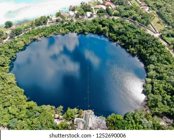 Aerial view with drone from the Cenote Azul in Bacalar