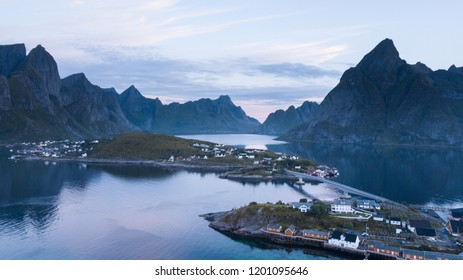 Aerial view from a drone of the city of Reine in the Lofoten islands at early morning hours. Norway.