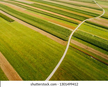Aerial view from Drone  of countryside landscape