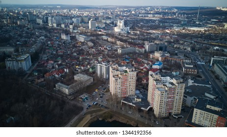 Aerial view of drone flying over city