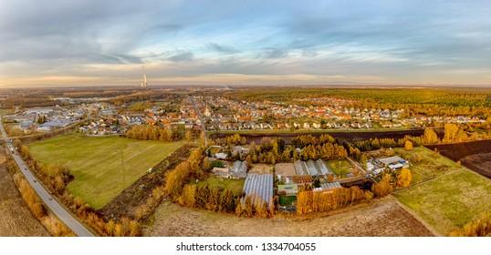 Aerial View drone Huttenheim germany