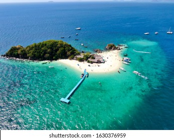 Aerial View With Drone. Koh Khai Nai island, Phuket, Thailand. Beautiful tropical island with white sand beach and turquoise clear water.