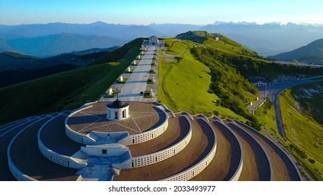 Aerial view, drone view of the Military Memorial of Monte Grappa. (Vista Aerea sacrario militare di Cima Grappa)