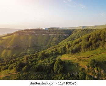 Aerial view from the drone. Mountain landscape of the North Caucasus, Kislovodsk resort Park.