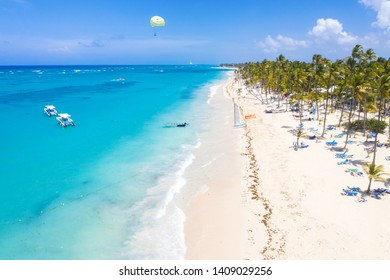 Aerial view from drone on caribbean seashore of Atlantic ocean with luxury resorts, travel destination. Summer holidays