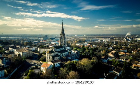 Aerial view from drone on the city Bordeaux, France. Beautiful view, sunny day.