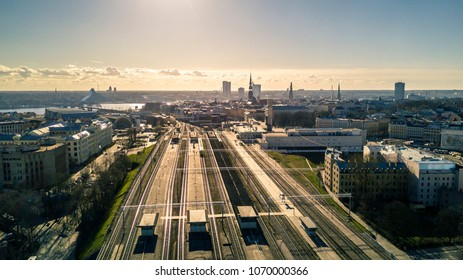 Aerial view from drone on city landscape on Riga, Latvia. Sunny day, blue sky.