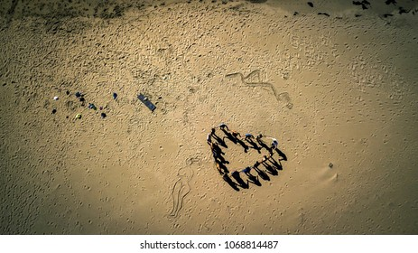 Aerial view from drone on group of people standing on the sandy beach and making heart figure. Norway.
