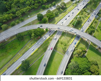 Aerial view from the drone on the highway from Georgetown,Penang island,Malaysia