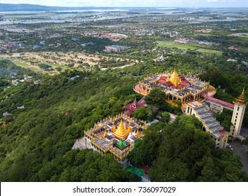 Aerial view from the drone on the Mandalay Hill Temple.Hill that is located to the northeast of the city centre of Mandalay in Burma