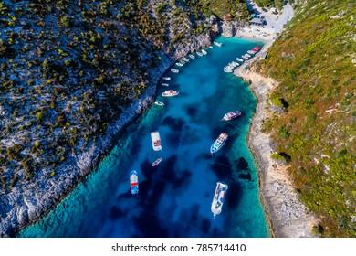 Aerial view with drone over the Porto Vromi beach in Zakynthos (Zante) island, in Greece