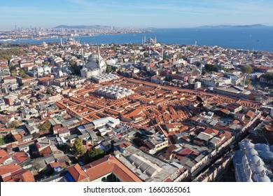 Aerial view of Drone Photo of Grand Bazaar in the old city of Istanbul, Turkey