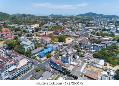 Aerial view drone photography High angle view of Phuket city, Phuket province Thailand