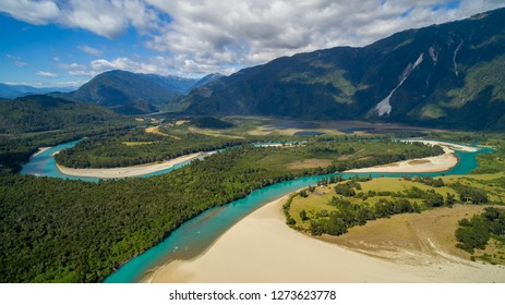 Aerial view with drone of Rio Puelo with its curves and turquoise waters