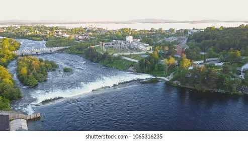 Aerial View from Drone of Rough Niva River flowing through the Kandalaksha Town in Russia