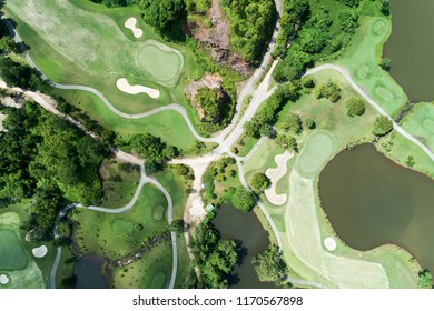 aerial view drone shot of beautiful golf course