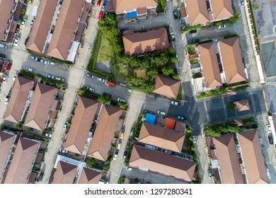 Aerial view drone shot of modern houses village.