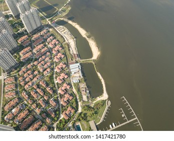 Aerial view drone shot of modern houses village