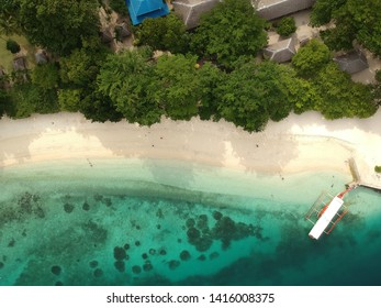 Aerial view or drone shot of Talicud Island of Isla Reta which is in the Island Garden City of Samal, Davao.