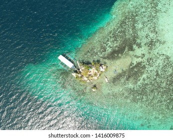 Aerial view or drone shot of Wishing Island in Davao, Philippines