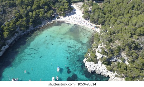 Aerial view from drone of a stunning beach in Menorca (Baleares)