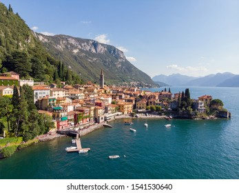 Aerial view with drone of Varenna City on Como Lake in Italy