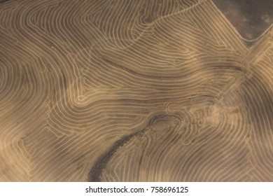 Aerial view of drought stricken cultivated farmlands in Western province, South Africa