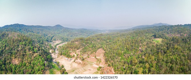 Aerial view of dry tropical jungle, hills and valley, Thailand