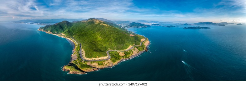 Aerial view of DT6571 road from Nha Trang city to Cam Ranh town, Khanh Hoa, Vietnam.